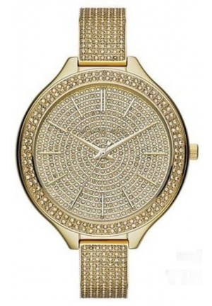 MICHAEL KORSRUNWAY Gold Crystal Pave Glitz Slim Women's Watch