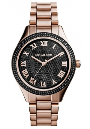 Blake Black Pavé Dial Rose Gold Tone Stainless Steel Bracelet Watch 39mm