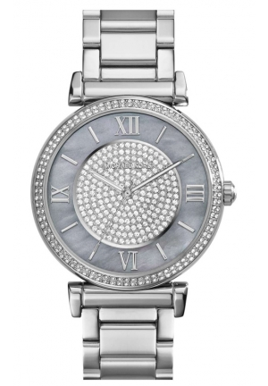 MICHAEL KORS CAITLIN SILVER TONE PAVE CRYSTAL GLITZ WATCH 38mm