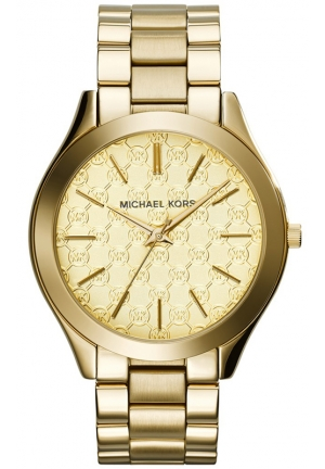 MICHAEL KORS Women's Slim Runway Gold-Tone Stainless Steel Bracelet Watch 42mm