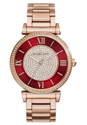 Catlin Pavé Red Dial Rose Gold Watch 38mm