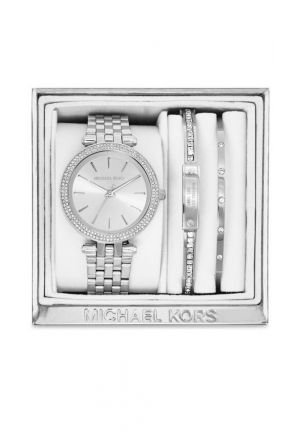 Michael Kors Women's Mini Darci Silver-Tone Stainless Steel Bracelet Watch Gift Set 33mm