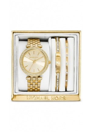 Michael Kors Women's Mini Darci Gold-Tone Stainless Steel Bracelet Watch Gift Set 33mm