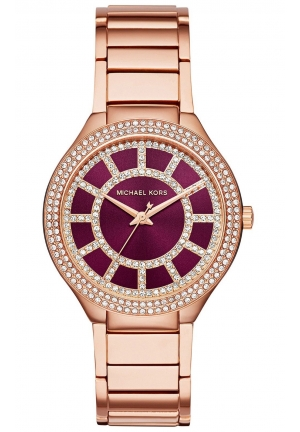 MICHAEL KORS KERRY Crystal Pave Rose Gold Tone Purple Dial 38mm