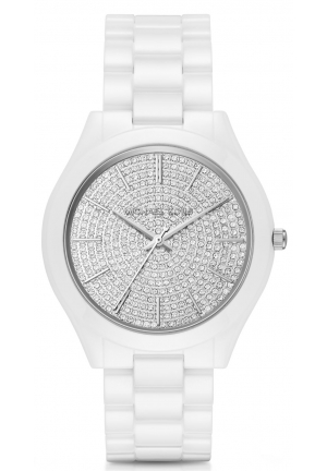 MICHAEL KORS Slim Runway Pavé Silver-Tone Ceramic Watch