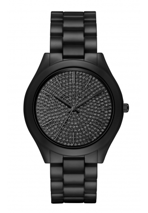 SLIM RUNWAY BLACK CRYSTAL PAVE DIAL LADIES WATCH , 42MM