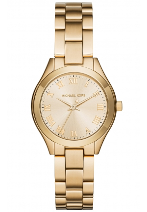 MICHAEL KORS Slim Runway Gold Tone Dial Ladies Dress Watch 33mm