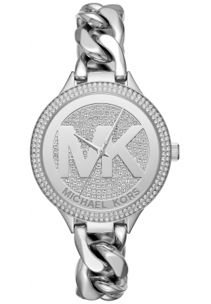MICHAEL KORS Slim Runway Pavé Silver-Tone Chain-Link Watch