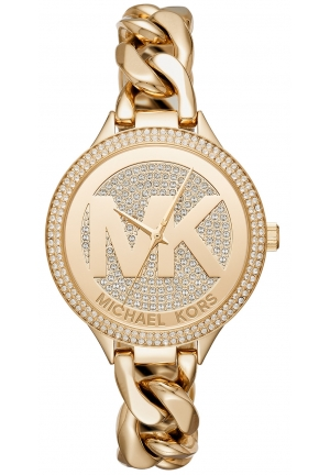 MICHAEL KORS Slim Runway Pavé Gold-Tone Chain-Link Watch