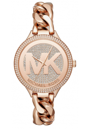 MICHAEL KORS Slim Runway Pavé Rose Gold-Tone Chain-Link Watch