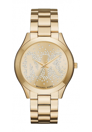 SLIM RUNWAY SCATTER LOGO GOLD-TONE WATCH 42MM