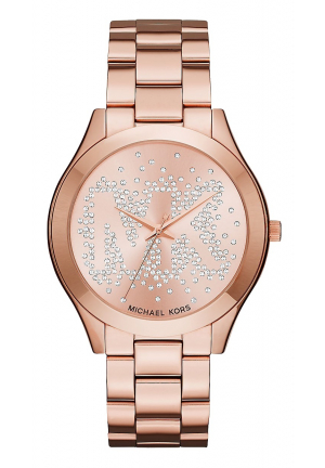 SLIM RUNWAY SCATTER LOGO ROSE GOLD-TONE WATCHMK 42MM