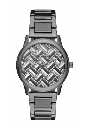 HARTMAN CHEVRON PAVÉ GUNMETAL-TONE WATCH 38MM