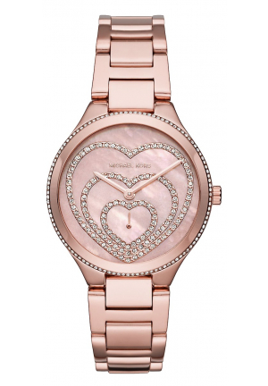 MICHAEL KORS  Lainey Pavé Heart Rose Gold-Tone Watch 36MM
