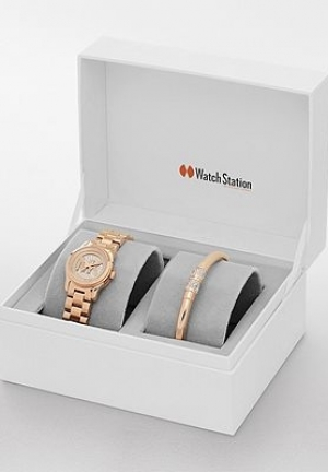 Michael Kors Petite Runway Rose Gold-Tone Watch and Jewelry Gift Set