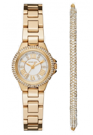 MICHAEL KORS Petite Camille Gold-Tone Watch and Slider Bracelet Set