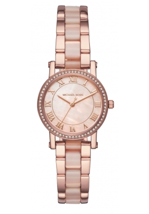 MICHAEL KORS Petite Norie Pavé Rose Gold-Tone Watch