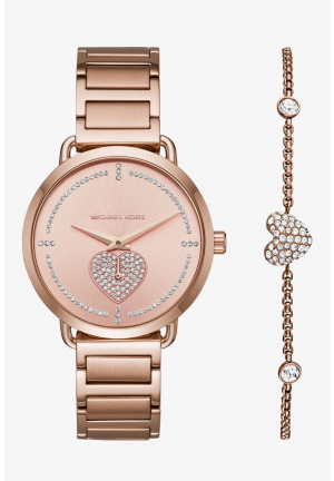 MICHAEL KORS Portia Pavé Rose Gold-Tone Watch