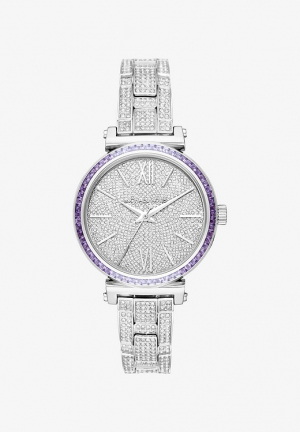 MICHAEL KORS MINI SOFIE PAVÉ SILVER-TONE WATCH , 36MM