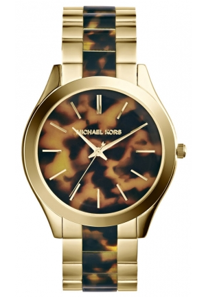 MICHAEL KORS Slim Runway Tortoise and Gold-Tone Watch 42mm