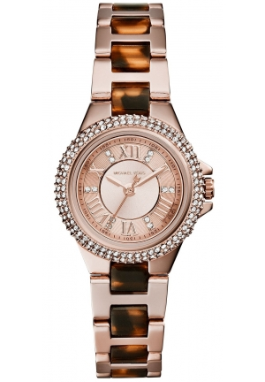 MICHAEL KORS Petite Camille Rose Gold Tone and Tort Watch