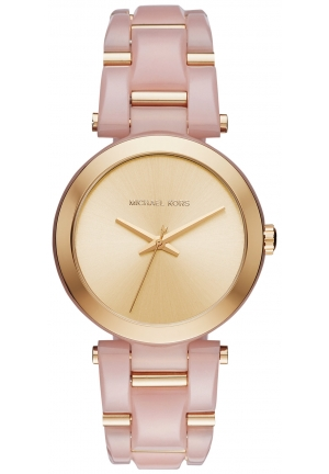 MICHAEL KORS Delray Gold-Tone Dial Pink Acetate Ladies Watch MK4316