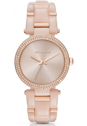 MICHAEL KORS  Delray Pavé Rose Gold-Tone And Acetate Watch