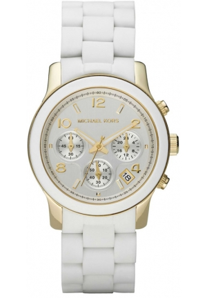 Michael Kors Women's Chronograph Runway White Polyurethane and Gold-Tone Bracelet Watch