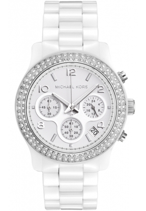 Women's White Ceramic Link Bracelet Quartz Chronograph Crystal 38mm