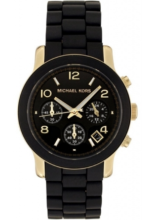 MICHAEL KORS Runway Black Dial with Black Goldtone Bracelet Watch 38mm