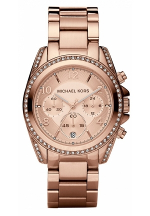 Michael Kors Unisex Blair Rose Gold-tone Chronograph Watch 39mm