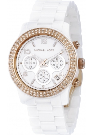 Ladies Watch with White Ceramic Bracelet, Stone Set Rose Gold Bezel and White Dial