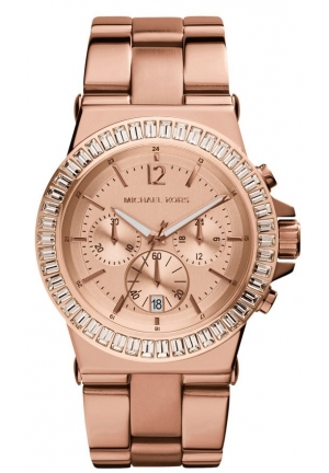 Unisex Baguette-Bezel Watch, Rose Gold 43mm