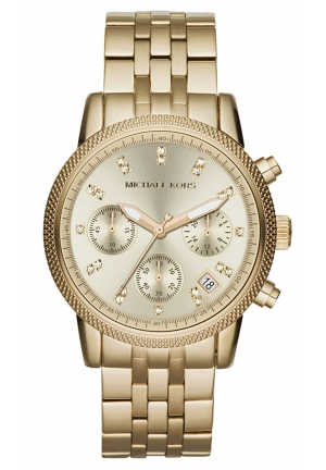 MICHAEL KORS Chronograph Ritz Gold-Tone Stainless Steel Bracelet Watch 36mm