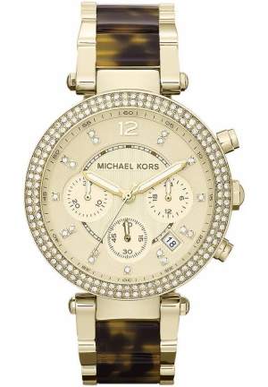 Women's Parker Tortoise and Gold-Tone Stainless Steel Round Chronograph Watch 39mm