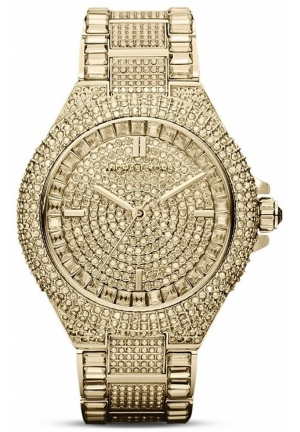 Michael Kors Women's Camille Crystal-Covered Gold-Tone Stainless Steel Bracelet Watch 44mm