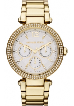 MICHAEL KORS Parker White Day Date Glitz Dial Gold Steel Women Watch 39mm
