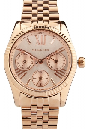 MICHAEL KORS Mini Lexington Chronograph Rose Dial Rose Gold-tone Ladies Watch 33mm