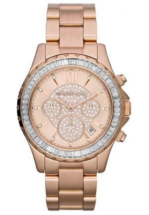 Women's Rose Golden Stainless Steel Madison Chronograph Glitz Watch 41mm