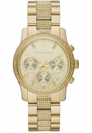 Women's Chronograph Runway Gold-Tone Stainless Steel Bracelet Watch 38mm