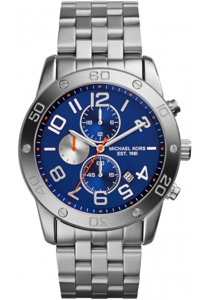MICHAEL KORS Chronograph Mercer Blue Dial Stainless Steel Mens Watch 45mm