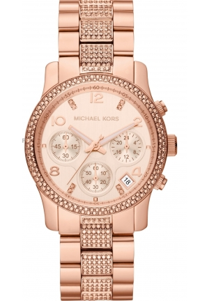 Women's Chronograph Runway Rose Gold-Tone Stainless Steel Bracelet Watch 38mm