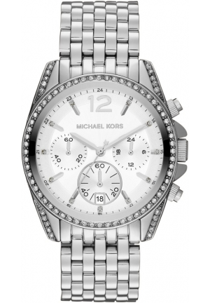 Unisex Silver Color Stainless Steel Pressley Chronograph Glitz Watch 39mm
