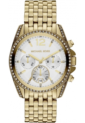 Unisex Golden Stainless Steel Pressley Chronograph Glitz Watch 39mm