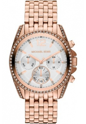 Unisex Rose Golden Pressley Chronograph Glitz Watch 39mm