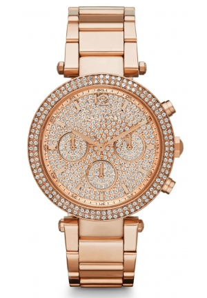 MICHAEL KORS Chronograph Parker Rose Gold-Tone Stainless Steel Bracelet Watch 39mm