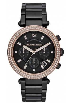 MICHAEL KORS Parker Chronograph Black Dial Black Ion-plated Ladies Watch