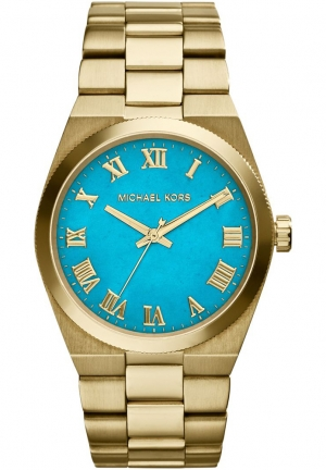 MICHAEL KORS Women's Channing Gold Tone Turquoise Dial Watch 38mm