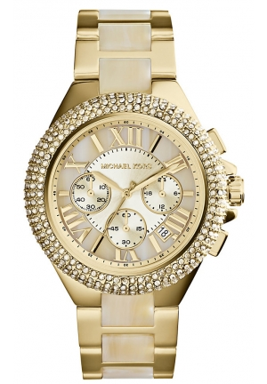 Camille Horn and Gold-Tone Stainless Steel Watch 43mm