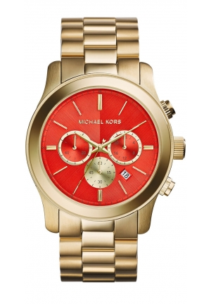 MICHAEL KORS Oversize Golden Stainless Steel Runway Chronograph Watch 45mm